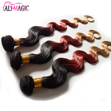 5A 6A 7A Ali Magic Ombre Hair Extensions 3 Tone Color Ombre Hair Brazilian Body Wave Hair