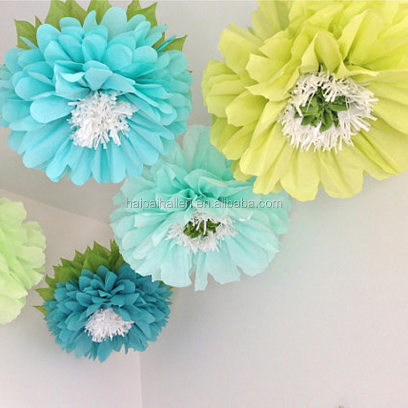 3D Round rainbow paper garland pompom paper garland for Birthday Decoration