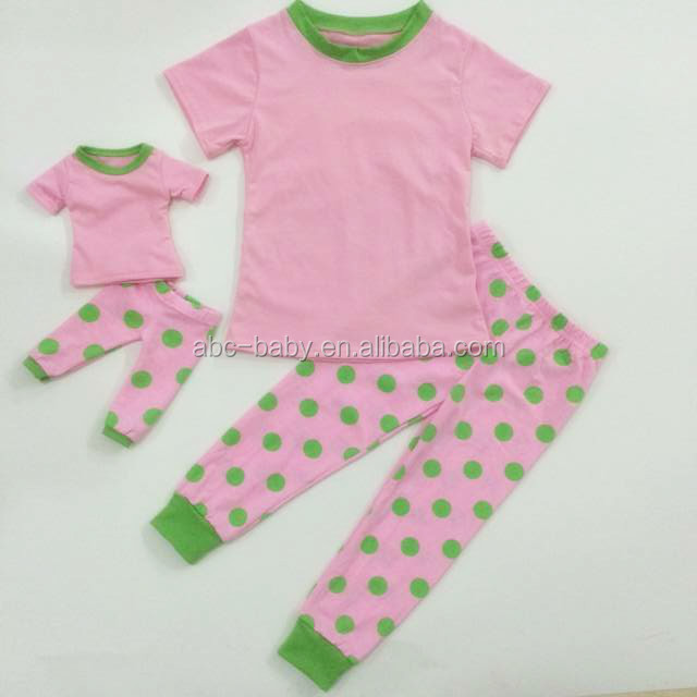 Cute summer green polka dot printing fall outfit girl doll clothes girls pure cotton boutique outfits