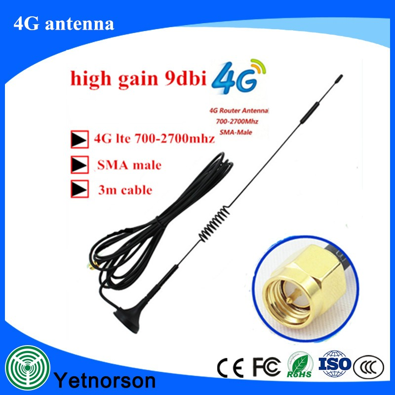 12dBi 700-2700MHz 3G 4G Antenna CRC9 Connector for GSM CDMA WCDMA Extension Cable 3M RG174