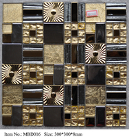 12X12 gold color glass mosaic tile for kitchen