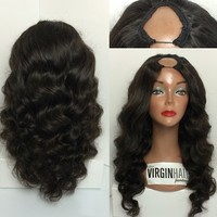 Virgin brazilian u part human hair wigs for balck women u part wig wholesale