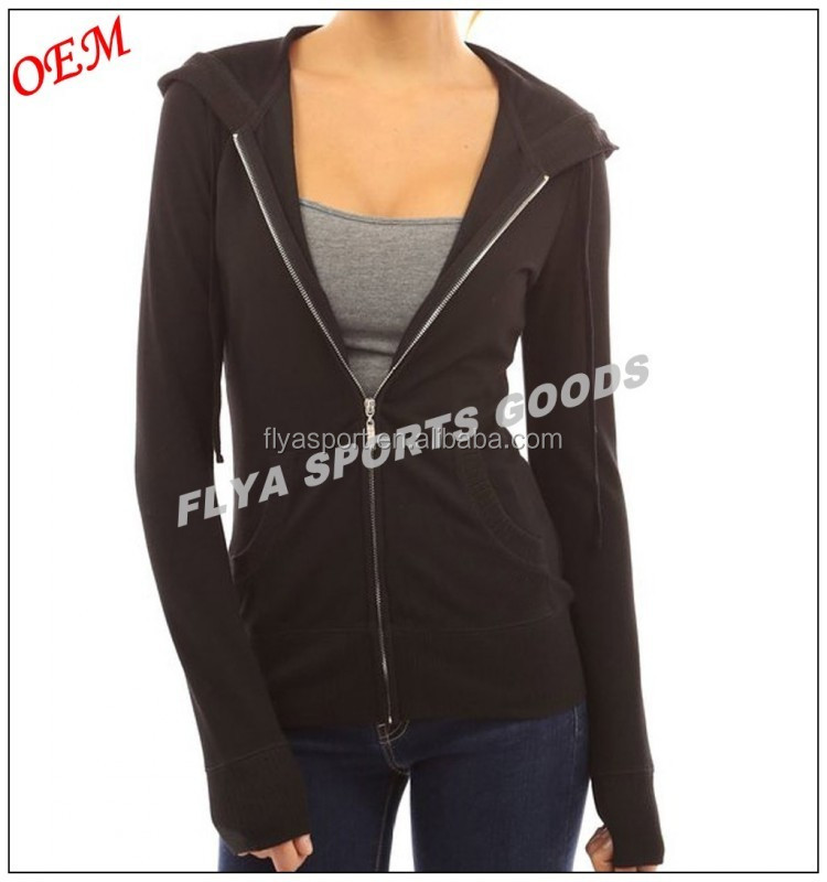 2018 New Design Black Solid Pocket Women Zip Up Hoodie Jacket Wholesale Custom Made Cheap Price