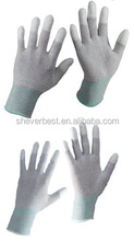 13G knitted seamless white nylon +carbon +PVC dotted liner with PU coated on the top of finger