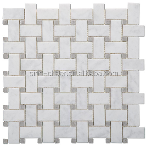 basketweave bianco carrara marble mosaic floor tile price made in china
