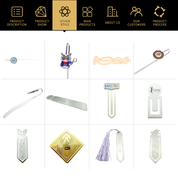 Wholesale cheap custom gold brass metal Christmas design bookmark