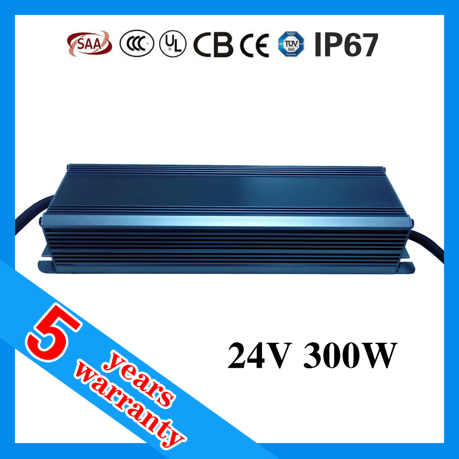 5 years warranty CE ROHS TUV SAA approved IP67 LED waterproof 300W powersupply 24V with PFC