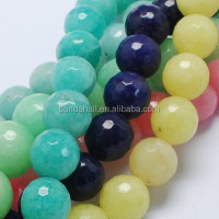 8mm Mixed Faceted Round Semi Precious Stone Natural White Jade Beads Wholesale
