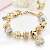 2017 Crystal Heart Diy Bead Bracelet Brand Jeweley With Gold Color Women Charm Bracelets & Bangles