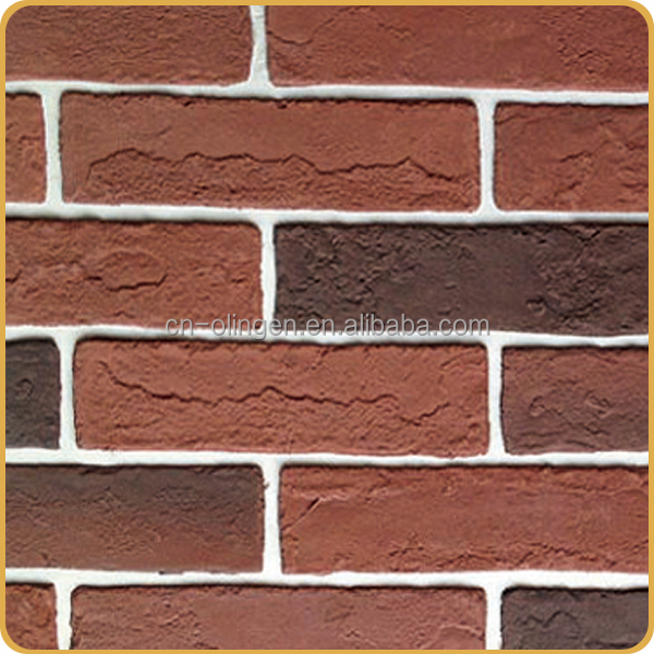 Thin artificial facades bricks
