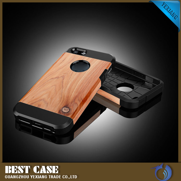High Quality Wood Phone Case For iPhone 5 PC TPU Hybrid Cover