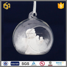 Hand blown clear christmas glass ball christmas decoration