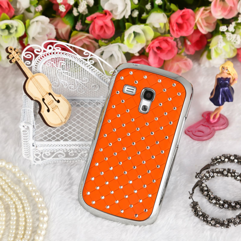 For Samsung Galaxy S3Mini i8190 Cover Orange Mobile Phone Bling Case