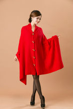 New arrival solid lady cashmere shawl with horn button