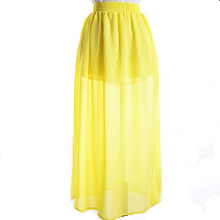 Latest fashion side open fork skirts women yellow chiffon elastic high waisted long skirt