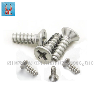 SUS304 stainless steel cross recessed countersunk head self-tapping screw fastener GB846 KB M6