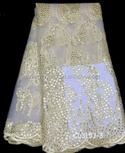 2015 Latest design african tulle lace fabrics GOLD CL3153 / guipure lace fabric / embroidery net french lace for nigerien