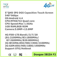 Wholesale Android 4.4 Cellphone 5'' MTK6732 Quad core 8GB DOOGEE F2 4G LTE smartphone GPS