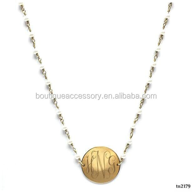Personable Gold Circle Artifical Pearl Chain Necklace