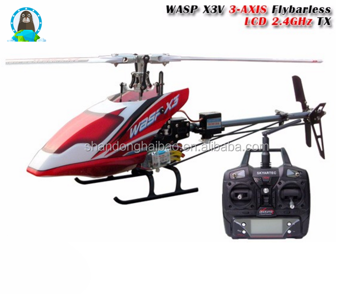 Wholesale New Airplane Model Helicopter Toys WASP X3V 3-AXIS Flybarless LCD 2.4GHz RTF 6CH RC Helicopter