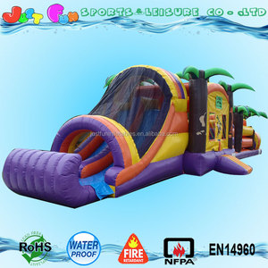jungle inflatable bouncy house double-lane slide combo obstacle course racing game