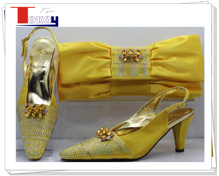 2014 top fashion ladies pu leather matching yellow shoes and bags