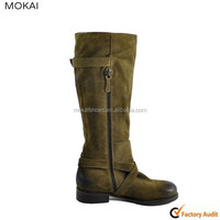 81308 suede over knee boots sturdy rubber sole flat shoes women leather boots