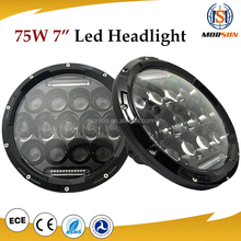 "75W 7"" High Power Led Projector headlamp harley motorcycle Hi/lo Beam headlight for Jeep Wrangler JK CJ"