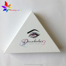 custom mink false eyelash triangle packaging box with private logo
