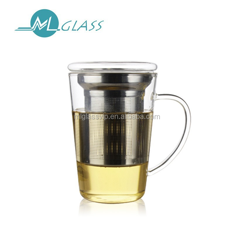 Wholesale pyrex glass teacup with infuser strainer lid handmade glass tea cup OEM ODM 400ml