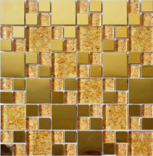 Glass Mixed Stainless Steel Mosaic Tiles Gold Color Mosaic Tiles Decorative Tiles
