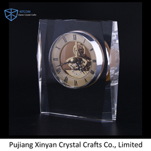 China Personalized table decoration crystal clock for business souvenir gift