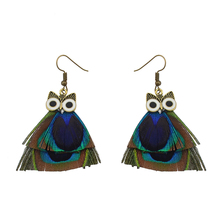 Bronze Alloy Fish Hook Owl Peacock Feather Earring Animal Jewelry
