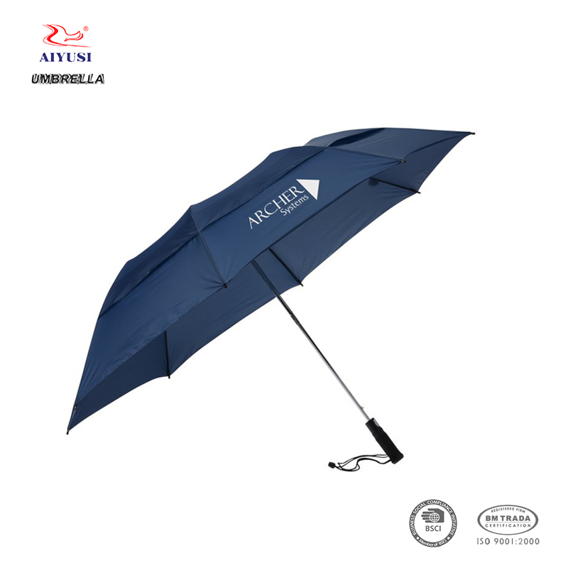Customized canopy double layer air windproof 2 folds wind vented golf umbrella