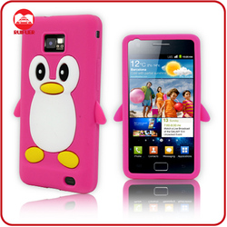 Fancy Soft Penguin Style Skin Animal Shaped Protective Silicone Case for Samsung Galaxy S2