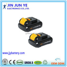 Rechargeable Li-ion Battery 12V 1500mah For DeWalt , high performance power tools battery pack DCB125