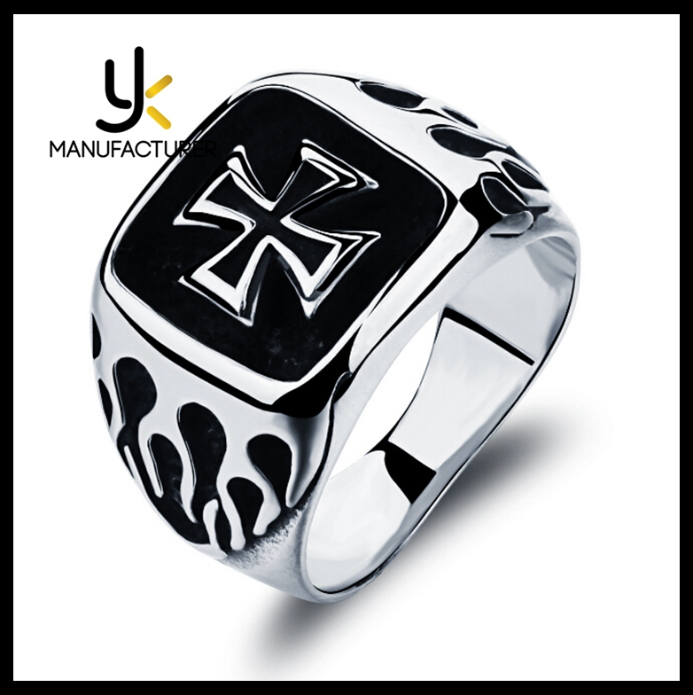 Wholesale Gentleman High Quality Enamel Knight Templar Stainless Steel Cross Ring