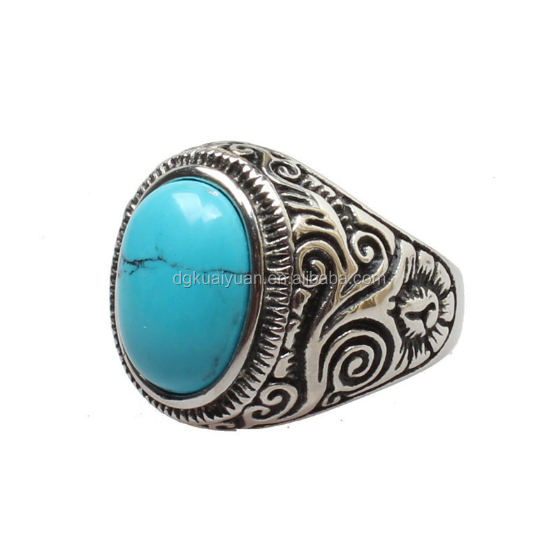 Wholesale 2015 most selling stainless steel men turquoise ring