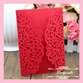 MR062 Unique Design Rose Delicate Carved Pattern Romantic Wedding Supplies Laser Cut Invitation Card
