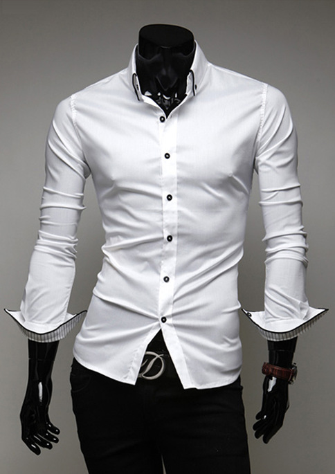 Discount walson Onen Wholesale Fashion Mens Luxury Casual Stylish Slim Fit Long Sleeve Casual Dress Shirts Tops White