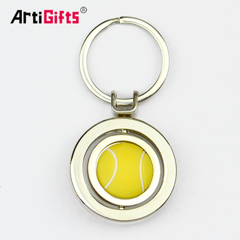 No Minimum Custom Logo Metal Spinning Volleyball Keychain