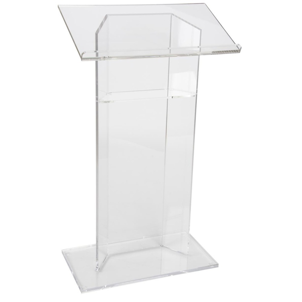 Acrylic Podium Lectern with Shelf, Plexiglass Plastic Podium