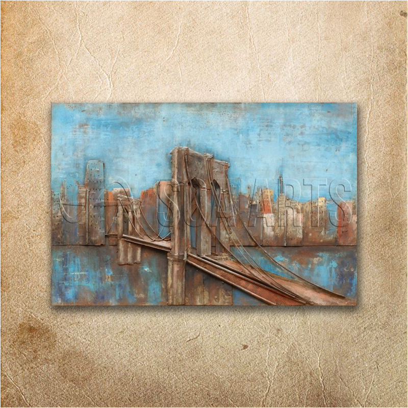 Modern Architecture 3D Bridge Metal Oil Painting