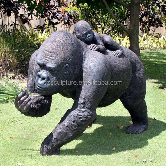 Decorative Sculptures Animal life size statue bronze gorilla with baby