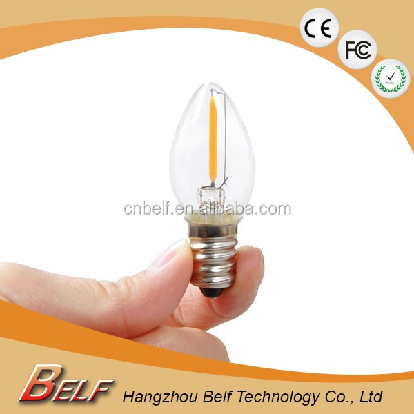 Gold / clear / Milky glass housing C7 E12 E14 led candle light bulb for Christmas / Bar / Wedding decoration