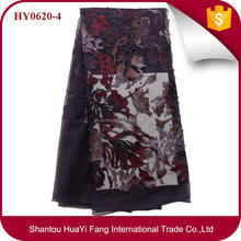 Newest embroidery fabric high quality african tulle beaded lace fabric HY0620-4