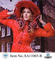 Fashionable down coat with fur hood for women
