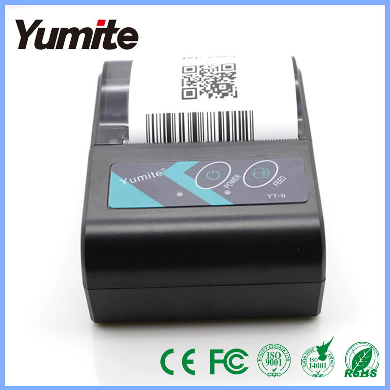 Yumite YT-II black wireless barcode printer bluetooth terminal thermal printer portable cheap barcode printer