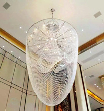 crystal beaded decoration chain chandelier lighting modern chandelier for high ceiling hotel pendant lamp light