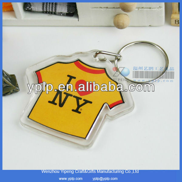 Promotional Cloth Shape Plastic Keychain,Blank T-shirt Shape Acrylic Keyring Wholesale